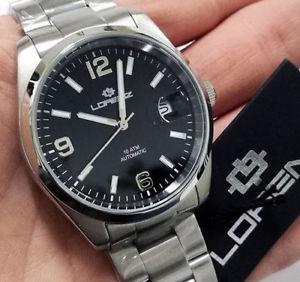 腕時計 ウォッチ クラシコlorenz orologio uomo automatico meccanico fondo scheletrico in acciaio classico