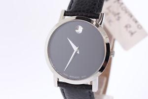 腕時計 ウォッチ ブラックレザーストラップmujer movado 0606130 museo esfera negra reloj con correa de cuero negro