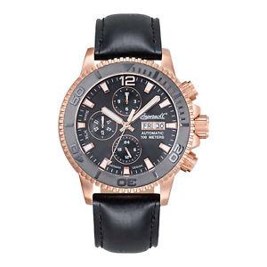 【送料無料】腕時計 ウォッチ ナイツブラックレザーブレスレットバイソンクロックingersoll reloj bison 58 in1105rbk caballeros automatik rotgold cuero negro brazalete