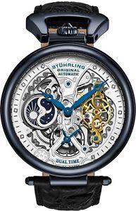 腕時計 ウォッチ デュアルタイムアラームスケルトンsthurling hombres emperor's hora dual automtico automtico esqueleto reloj