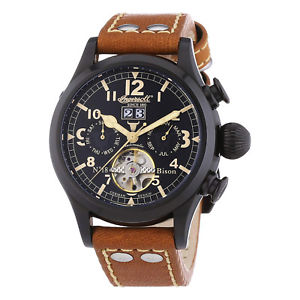 【送料無料】腕時計 ウォッチ ナイツブラウンレザーブラックバイソンクロックingersoll reloj bison 18 in4506bbk caballeros automtico negro de cuero marrn reloj de pulsera