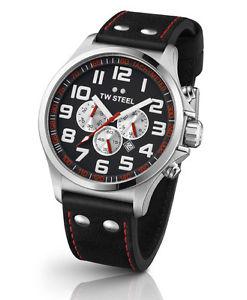 腕時計 ウォッチ スチールブラックレザーパイロットアラームtw steel tw415 piloto reloj hombre cuero negro chonograph nuevo