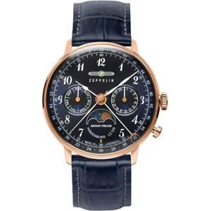 腕時計 ウォッチ ツェッペリンヒンデンブルクムーンフェイズzeppelin hindenburg luna fase lz129 reloj pulsera rosegold ip70393