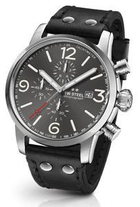 ウォッチ 【送料無料】腕時計 スチールアラームクロノクロノグラフブラックレザー