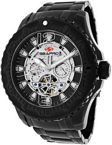 腕時計 ウォッチ クロノブラックステンレススチールアラームseapro hombre marea px1 automtico chrono acero inoxidable negro reloj sp3312