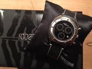 腕時計 ウォッチ アラームロベルトキャバリウォッチスチールステンレススチールクロノブラックレザークォーツ