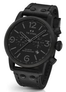 【送料無料】腕時計 ウォッチ スチールアラームクロノクロノグラフブラックレザー