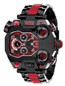 【送料無料】腕時計 ウォッチ アラームブラックステンレススティールブレスレットレッドカレンダークロックintemporal zlt1 reloj hombre beastmodus acero inoxidable negro rojo reloj pulsera de c