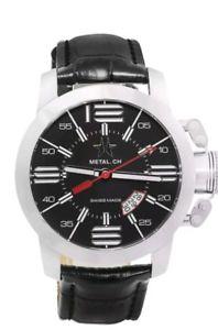 【送料無料】腕時計 ウォッチ スイスnuevo y en caja de metal ch chronometrie inicial hecho en suiza para hombre negro reloj de cuero