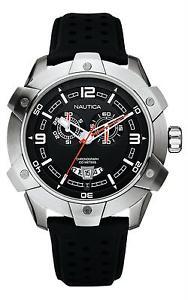 【送料無料】腕時計 ウォッチ クロノグラフクロックブラックレザーストラップnautica para hombres nst100 reloj con crongrafo grande a32516g negro correa de cuero bnwt