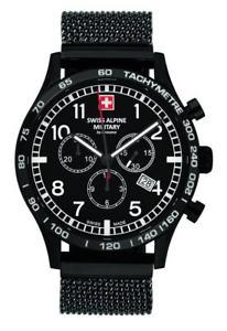 【送料無料】腕時計 ウォッチ スイスアルパインクロノグラフメッシュブレスレットreloj de pulsera swiss alpine negro militar aviador crongrafo pvd amp; malla pulsera