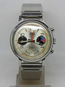 【送料無料】腕時計 ウォッチ クロノグラフスチールムーブメントパンダビンテージストップウォッチcrongrafo edma panda acero movimiento valjoux 7734 ,vintage cronmetro