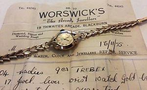 oro pesado 1955 slido seoras recibo レディースビンテージソリッドゴールドimpresionante trebex relojha ウォッチ 【送料無料】腕時計 9ct c vintage
