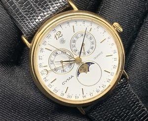 moon luna ムーンムーンヴィンテージアラームトカゲnos reloj lunar watch cyma lizard 35mm espectacular 【送料無料】腕時計 ウォッチ nuevo vintage