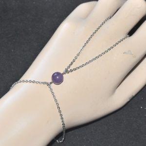 【送料無料】ブレスレット アクセサリ― ブレスレットステンレススチールリングアメジストhand chain bracelet stainless steel ring amethyst purple jewel