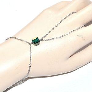 【送料無料】ブレスレット アクセサリ― ブレスレットステンレススチールリンググリーンクリスタルキューブジュエルhand chain bracelet stainless steel ring green crystal cube jewel