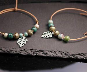 【送料無料】ブレスレット アクセサリ― monsteraサイズレザーleather bracelet with monstera leaf and green ceramic beadsadjustable size
