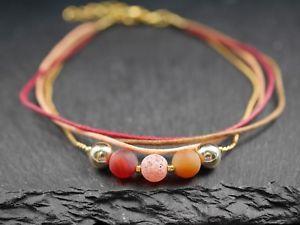 【送料無料】ブレスレット アクセサリ― ガラスビーズオレンジレッドゴールドブレスレットmultiple bracelet with glass beadsorange red gold