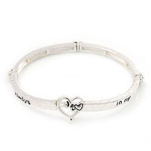 【送料無料】ブレスレット アクセサリ― シルバーフレックスブレスレットburn silver you are always in my heart flex bracelet up to 20cm wrist