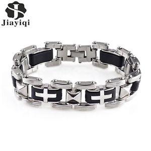 【送料無料】ブレスレット アクセサリ― asde30033 silikonマンパンクkreuz edelstahlブレスレッツas de30033 silikon mann punk kreuz edelstahl charm bracelets