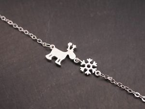 【送料無料】ブレスレット アクセサリ― 925 トナカイブレスレット エルチェ    クリスマス925 silver bracelet with reindeer elche snowflake winter snow xmas