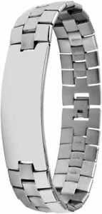 【送料無料】ブレスレット アクセサリ― アクセントメンズステンレススチールプレートブレスレットaccent mens stainless steel bracelet with engraving plate anti allergenic
