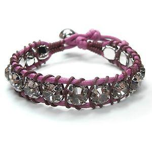 【送料無料】ブレスレット アクセサリ― ブレスレットピンクミリライトアメジストコードブレスレット bracelet pink 8mm rhinestones light amethystpurple plaited cord bracelet