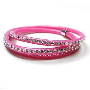 【送料無料】ブレスレット アクセサリ― ブレスレットネオンピンクスワロフスキークリスタルラップブレスレット bracelet neon pink with swarovski stones crystalcrystal wrap bracelet