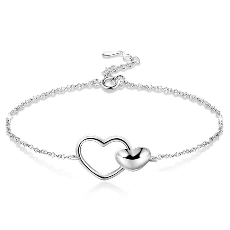 【送料無料】ブレスレット アクセサリ― スターリングシルバーハートブレスレット2x925 sterling silver heart to heart adjustable bracelet for women y9g4