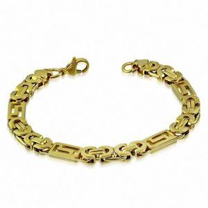 【送料無料】ブレスレット アクセサリ― メンズステンレススチールブレスレットゴールドビザンチンメッシュmens stainless steel bracelet gold byzantine mesh 22 cm