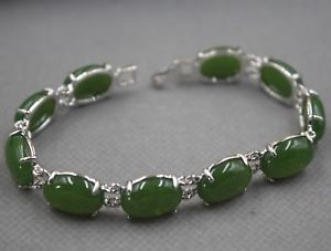 【送料無料】ブレスレット アクセサリ― ヒータービーズリンクブレスレット charm 10mm green heating jade oval bead with aolly link bracelet 18cm l