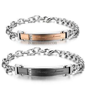 【送料無料】ブレスレット アクセサリ― ステンレススチールブレスレットクリスマスthe only one foerver men women stainless steel couples bracelet christmas gift