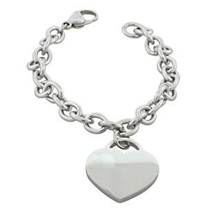 【送料無料】ブレスレット アクセサリ― ステンレススチールハートチェーンブレスレットstainless steel silvertone love heart chain bracelet