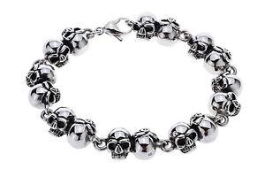 【送料無料】ブレスレット アクセサリ― d006 85blingmensチェーンmens skull skeleton chain bracelet heavy bling jewelry gift for father d006 85