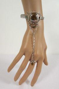 【送料無料】ブレスレット アクセサリ― ブレスレットチェーンジュエリーブラウンwomen silver metal bracelet hand chain fashion jewelry slave ring green brown