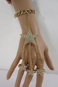 【送料無料】ブレスレット アクセサリ― スターチャームブレスレットファッションジュエリースレーブリングゴールドシルバーwomen star charm bracelet hand chain fashion jewelry slave 3 rings gold silver
