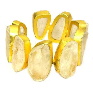 【送料無料】ブレスレット アクセサリ― ローズコーツカフス24ctジュエリーrose quartz rough cuff 24ct overlay handmade jewelry