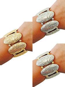 【送料無料】ブレスレット アクセサリ― シルバーゴールドトーンストレッチブレスレットシンプルファッションジュエリーsilver, gold or twotone stretch textured metal bracelet simple fashion jewelry