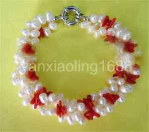 【送料無料】ブレスレット アクセサリ― 3pearlamp;レッドジュエリーブレスレットwonderful 3 strands natural white freshwater pearlamp;red coral jewelry bracelet