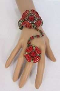 【送料無料】ブレスレット アクセサリ― blingカフススレーブブレスレットレッドリングビッグwomen gold metal hand chain round cuff slave bracelet red ring big bling beads