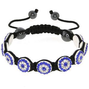 【送料無料】ブレスレット アクセサリ― ストランドブレスレットボタンstunning button shape with blue and white crystals adjustable strand bracelet