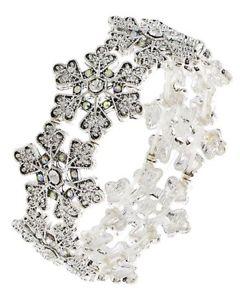 【送料無料】ブレスレット アクセサリ― ラインストーンクリスマスステートメントシルバーcrystal rhinestone christmas snowflake statement stretch bracelet silver tone