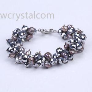 【送料無料】ブレスレット アクセサリ― natural freshwater pearl crystal bracelet
