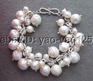 【送料無料】ブレスレット アクセサリ― 12mmホワイトkeshiパール12mm white keshi pearl bracelet