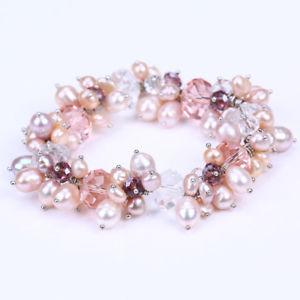 【送料無料】ブレスレット アクセサリ― ピンクbohopink natural freshwater pearl clear crystal boho beaded bracelets