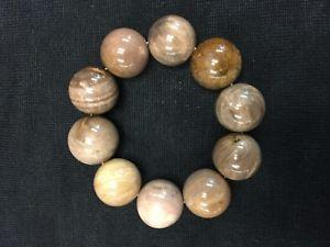 【送料無料】ブレスレット アクセサリ― プレーヤービーズストレッチブレスレットラウンドメロディストーンブラウンハンドメイドpetrified wood player beads stretch bracelet round melody stone brown handmade