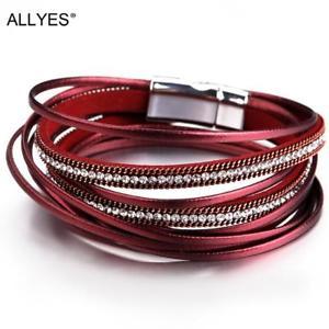 【送料無料】ブレスレット アクセサリ― ブレスレットマグネットクラスプクリスタallyes multilayer leather bracelets for women femme 6 colors magnet clasp crysta
