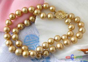 【送料無料】ブレスレット アクセサリ― ゴールドラウンドブレスレット2row 8 9mm gold round freshwater cultured pearl bracelet