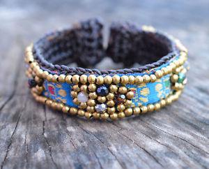 【送料無料】ブレスレット アクセサリ― カフモンブレスレットモン#cuff hmong fabric bracelet handmade hill tribe hmong hobo 6