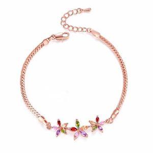 【送料無料】ブレスレット アクセサリ― ジルコンブレスレットローズゴールドカラーカラフルzircon crystal boho bracelet rose gold color flower shape colorful aaa jewelry